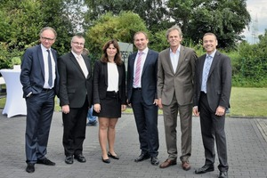 "<div class=""bildtext_en"">Andernach's mayor Achim Hütten, district administrator Dr. Alexander Saftig, MdB Mechthild Heil and Dr. Stephan Schleiermacher, Covestro AG, congratulated Assyx Managing Directors Manfred Kessler and Alfred Rochlus (from left to right) on the company anniversary</div>"