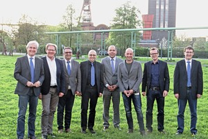 """<div class=""""bildtext_en"""">Host and speakers at the Dyckerhoff Architect Night 2016 in Essen (from left): Martin Möllmann, Burkhard Fröhlich, Dirk Riether, Andreas Blobner, Harry Schwab, Thilo Höhne, Michael Rathgeb and Stefan Heeß. Not shown in the picture: Tobias Scheel and Stefan Passarge</div>"""