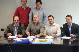 """<div class=""""bildtext_en"""">Front row, from left to right: Ricardo Griot, owner and president Pecam S.A., Iván Brajkovic, owner and president Brayco S.A., Jop van Boggelen, owner and CEO Aircrete Group N.V., Daniel van Maanen, partner and CFO Aircrete Group N.V. Back row, from left to right: Iván Bergallo, head of development Pecam S.A. and Mariano Brajkovic, owner and director Brayco S.A.</div>"""