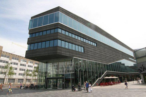 Curtain facade of the Almere library with precast concrete parts