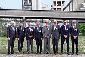 Hosts and speakers of the Dyckerhoff Weiss cast stone conference 2015: (from left) Martin Möllmann, Dennys Dressel, Jochen Richard, Thomas Deuse, Dr. Patrick Schäffel, Prof. Jürgen Ulrich, Lutz Hammer and Dr. Christian Kulas