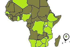 Länder, in denen die am Programm zur Kompetenzprüfung teilnehmenden Labore ansässig sind (hellgrün)