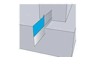 """<span class=""""bildunterschrift_hervorgehoben"""">Abb. 2</span> Das Fugenblech AquaproofX<sup>®</sup> 1 dient zum Abdichten aller bauwerkstypischen Arbeits- und Sollrissfugen. Die Polymerschicht verbindet sich mit dem Beton und sorgt für eine wasserundurchlässige Fuge.<br />"""