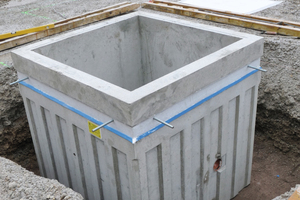 """<div class=""""bildtext_en"""">The new Hieber pump sump with sealing products from StekoX saves time at the site. All that remains to be done is to cast on the unit on one side</div>"""