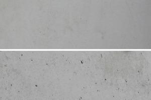 """<div class=""""bildtext"""">Vergleich zweier Betonflächen – hergestellt mit (oben) und ohne Trennmittel Ortolan Classic (unten)</div>"""