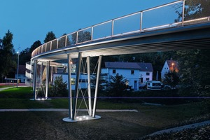 A bridge with glass-fiber reinforcement from Solidian. The next step might involve routes for pedestrians and micromobility that are elevated above existing roadways