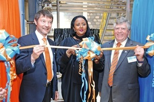 """<div class=""""bildtext_en"""">Amina Mohamed, Dick Purchase andLaurent Tainturier opened the new production site in Nairobi as afurther step to strengthen the global network of the Master Builders Solutions brand</div>"""