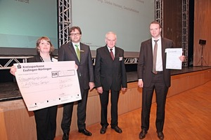"""<span class=""""bildunterschrift_hervorgehoben"""">Fig. 4</span> At the beginning of the year, the Qaver was awarded with the innovation prize 2011 at the BetonTage in Ulm.<br />"""