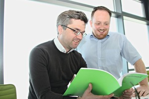 """<div class=""""bildtext_en"""">Product Development Manager, Benjamin Happ (left), and Quality Assurance Manager, Christian Beständig (right), in good humor after theEuropean Technical Assessment has been granted</div>"""