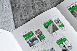"<div class=""bildtext_en"">The overview of the new printed matter of Heidelberger Beton shows at a glance all available product brochures, flyers or guidelines in the new corporate design </div>"