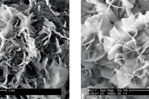 """<div class=""""bildtext_en"""">→ 3 Comparison of mono sulfoaluminate crystals formed from C<sub>3</sub>A/<strong>β</strong>-CaSO<sub>4</sub>·0.5 H<sub>2</sub>O under terrestrial (left) and zero-gravity conditions (right); SEM images</div>"""