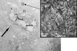 Fig. 2 Transmission electron microscopy of a UHPC specimen heat-cured at 250°C.