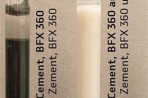 Reagenzglasversuch – Wasser, Zement, Eisenoxidschwarz-Pigment; mit und ohne PCE-Fließmittel zeigen sich unterschiedliche Ergebnisse