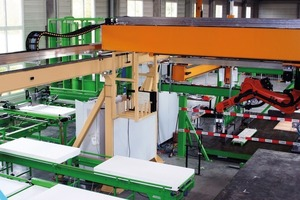 "<span class=""bildunterschrift_hervorgehoben"">Fig. 2 a+b </span>The insulation pan-els are delivered in standard sizes, moved through the cutting unit (which uses a hot-wire system), conveyed to the feed station of the placing robot, and positioned. In the next step, the wall connectors (glass fiber rods) are inserted into the previously created openings in a fully automated process.<br />"