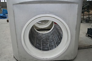 The manhole components are produced in various conduit shapes and material, this one here was produced with basalt lining