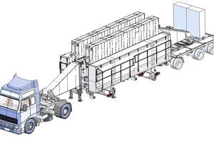 """<div class=""""bildtext"""">Die Batterieschalung wird auf einem Spezialfahrzeug in der Form eines Sattelaufliegers aufgebaut, welches von handelsüblichen Zugmaschinen bewegt werden kann</div>"""
