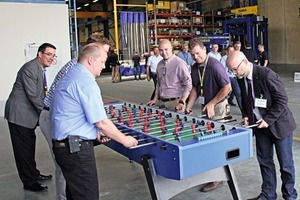 """The visitors of the anniversary celebration could even """"do sports"""" playing table soccer"""