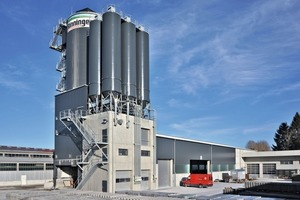 Liebherr mixing plant Betomat IV-515 featuring three ring-pan mixers, ten aggregate chambers and six cement silos