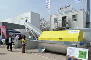 Many suppliers of product and system solutions presented themselves in the open air area, like Bibko and Putzmeister here
