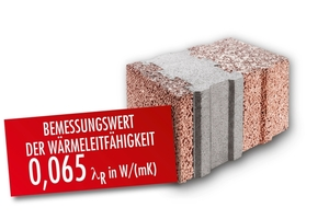 The three-layer wall block made of lightweight concrete convinces with its U-value of 0.17 W/(m²K)