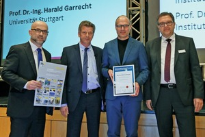 The Institute for Structural Design of the Braunschweig University of Technology was awarded the Innovation Prize of the Supplier Industry for Structural Concrete Products 2017 (from left to right: Christian Jahn, BFT International, Prof. Harald Garrecht, head of the jury, Prof. Harald Kloft, Braunschweig University of Technology, and Dr. Ulrich Lotz, FBF Betondienst GmbH)
