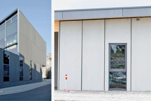 """<div class=""""bildtext_en"""">→ 2 Large-size façade panels of the secondary school St. Leonhard in Aachen (left) and of the service building at the adventure park """"SchieferErlebnis"""" inDormettingen (right)</div>"""