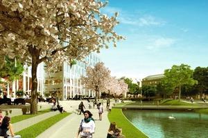 "<span class=""bildunterschrift_hervorgehoben"">Fig. 2 </span>A look into the year 2014: the ""Kö-Bogen"" in the hart of the new Downtown Düsseldorf in close proximity to the historic Hofgarten park.<br />"