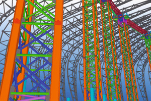 Apart from the steel structure of 6,440 tons, the temporary supports needed for erection of the loadbearing structure were also planned in Tekla Structures