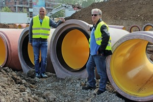 """<div class=""""bildtext_en"""">Beton Müller managing director Joachim Strack (left) and sales associate Jean Pierre Kiene (right) are pleased about the successful Perfect Pipe launch in France</div>"""