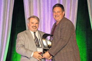 """<div class=""""bildtext_en"""">Dominic Girotti (left), the 2014 Robert E. Yoakum Award winner, presented the 2015 award to Chuck Babbert, president of sales at E.C. Babbert Inc.</div>"""