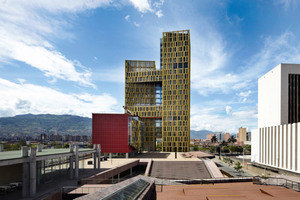 """<div class=""""bildunterschrift_en"""">With their novel façades and coloration, the towers of the Plaza de la Libertad building complex evoke associations with trees and the structure of bark</div>"""