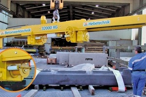 """<div class=""""bildtext_en"""">Favre Betonwaren AG based in Switzerland is now using a lifting beam of Beta. The circular section of the picture shows an enlargement of the belt reels driven by electric motors </div>"""