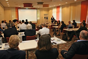 """<div class=""""bildtext_en"""">Around 50 attending members followed the lectures with great interest, such as here the special-request lecture given by Dipl.-Ing. Matthias Tillmann, Technical Director of the FDB</div>"""
