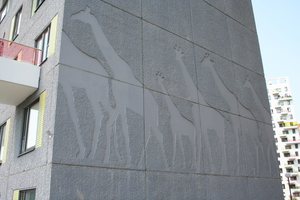 Animal motifs were incorporated in the concrete used for the façades on several gables