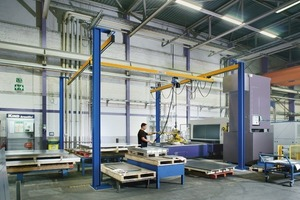 """<div class=""""bildtext_en"""">Abus single-girder crane EHB connected to the doweled jib boom support, as a cost-effective alternative to gantry cranes</div>"""