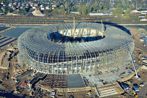 By October of 2010, the work on the steel skeleton had been completed
