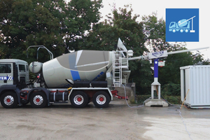 """<div class=""""bildtext_en"""">The mixer truck drums are cleaned every day or before any idle times, using an adjustable cleaning lance with cleaning nozzle head that is moved inside the drum automatically</div>"""
