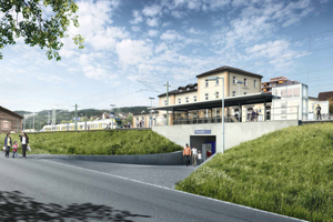 This is what it will look like: The pedestrian underpass beneath the larger platform at the railroad station in the Swiss town of Thayngen