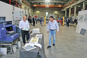 The CTG Lynx 420, also on display, gave a live demonstration of the printing process on sample slabs