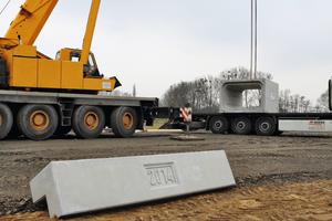 Montage der FBS-Stahlbetonrahmenbauteile auf der Baustelle