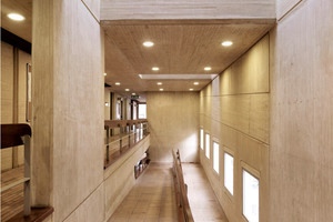 """<div class=""""bildunterschrift_en"""">The stair case and the hallways of the Alianza Francesa: The exposed concrete is colored with yellow pigments from the Lanxess Bayferrox range</div>"""