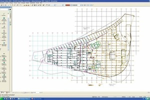 Layout plan of a shopping center with a prestressed precast floor slab extending over 9,500m²