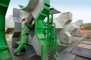 The Eco Xbloc mold and a freshly cast Eco Xbloc.<br />