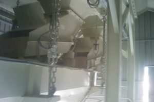 Fig. 6 View of the vibrating batching chutes.