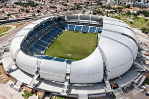"""<div class=""""bildtext_en"""">The blocks used for the paved areas around the Arena das Dunas situated in the coastal city of Natal are colored with pigments supplied by Lanxess </div>"""