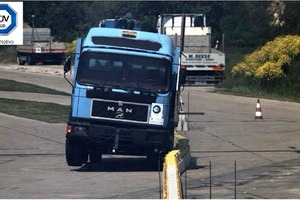 Fig. 1 Impact test TB 41 (according to DIN EN 1317-2):  truck, 10,000 kg, 70 km/h, 8° impact angle.