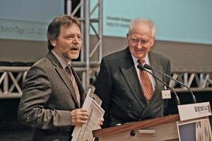 """<div class=""""bildtext"""">2014 gab es zwei Sieger: Dr.-Ing. Johannes Furche (links) nahm den Innovationspreis für die Filigran Trägersysteme GmbH entgegen. Außerdem erhielt die BASF Construction Solutions GmbH den begehrten Preis </div>"""