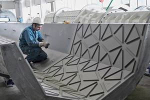 Elastic textured ­formliners of NOE Schaltechnik GmbH ­integrated at the ­precast plant ...
