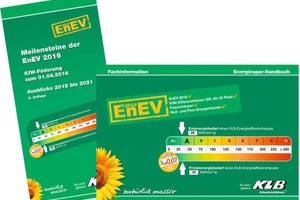 "<div class=""bildtext_en"">KLB provides architects, technical designers, construction contractors and other interested parties with the Meilensteine der EnEV 2016 (Milestones of EnEV 2016) and Energiespar-Handbuch (Energy Saving Manual) brochures</div>"