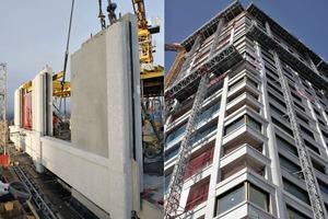 """<div class=""""bildtext_en"""">→ Zölly Tower high-rise residential building, Zurich. Detail of a façade element – building during assembly</div>"""
